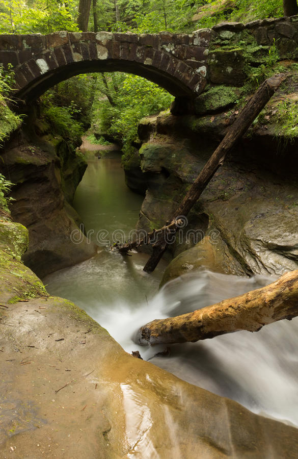 Beautiful smooth flowing stream under a stone bridge at Hocking Hills State Park, Ohio. Tranquil stream flowing under a stone bridge at Hocking Hills State Park royalty free stock images