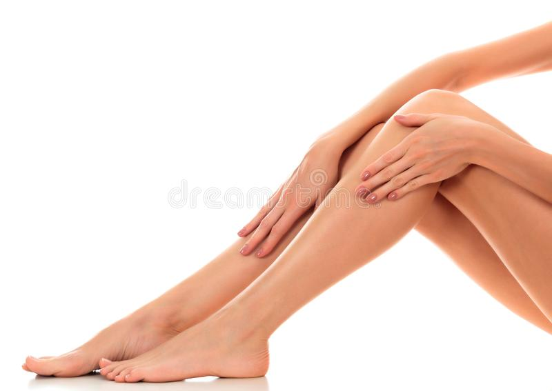 Beautiful smooth and shaved woman`s legs. stock images
