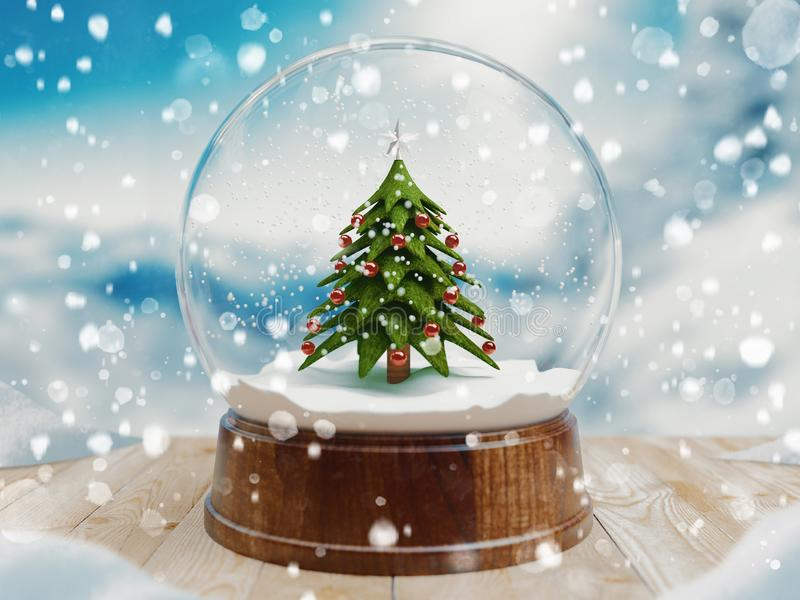 Beautiful snow ball or snowglobe with snowfall and Christmas tree inside. 3d rendering royalty free illustration