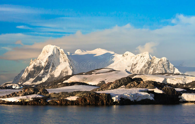 Beautiful snow-capped mountains stock images