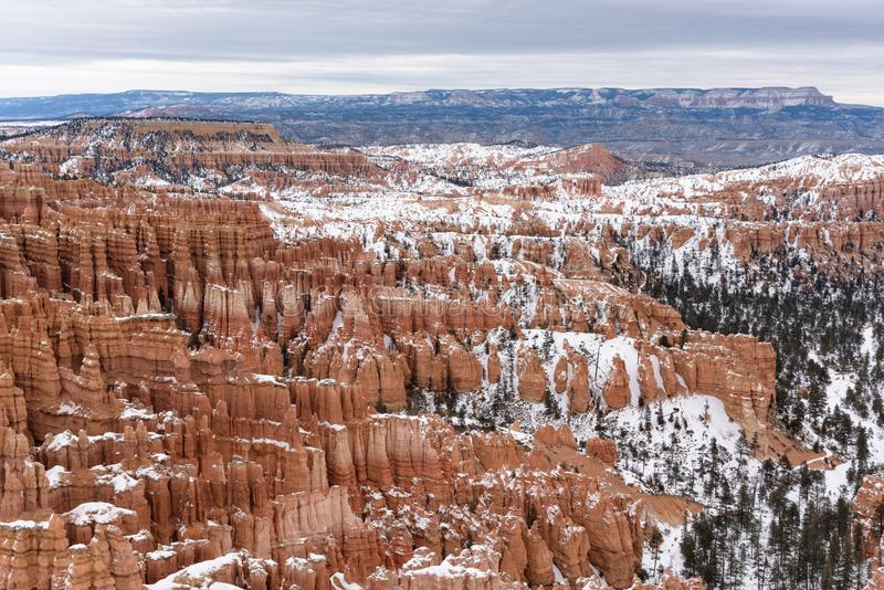 Beautiful snow covered mountains during the freezing winter period in Bryce  Canyon National Park, Utah, United States of America stock photos