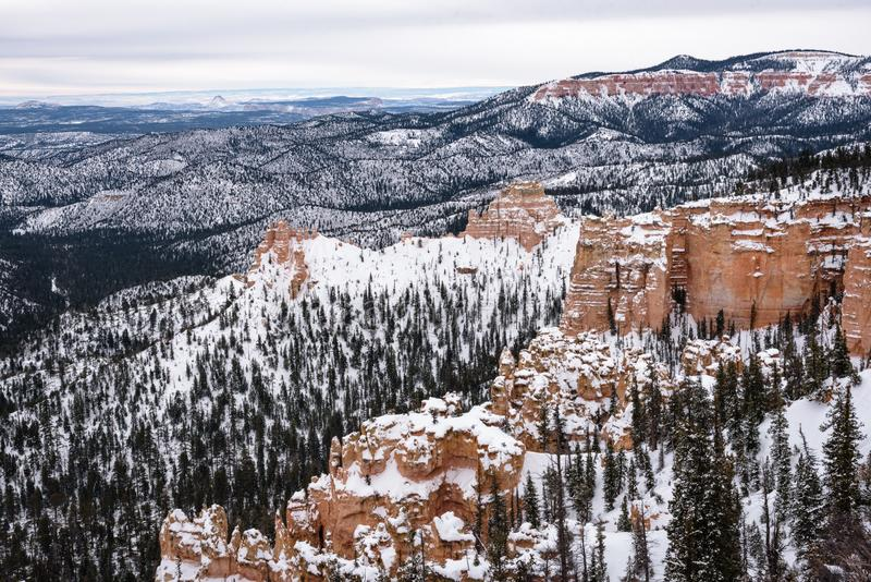 Beautiful snow covered mountains during the freezing winter period in Bryce  Canyon National Park, Utah, United States of America.  stock photography
