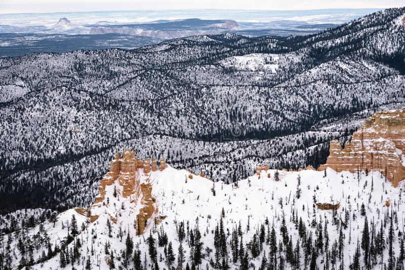 Beautiful snow covered mountains during the freezing winter period in Bryce  Canyon National Park, Utah, United States of America.  stock images