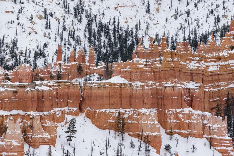 Beautiful snow covered mountains during the freezing winter period in Bryce  Canyon National Park, Utah, United States of America.  royalty free stock photography