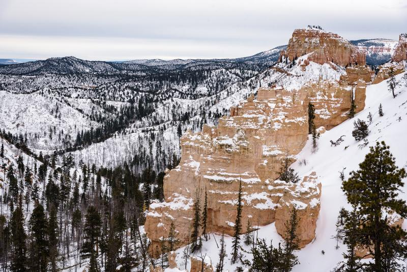 Beautiful snow covered mountains during the freezing winter period in Bryce  Canyon National Park, Utah, United States of America.  royalty free stock images