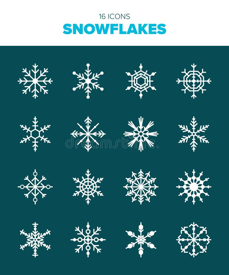 16 beautiful snow flakes. Get ready for winter with these beautiful snow flakes in modern, flat design royalty free illustration