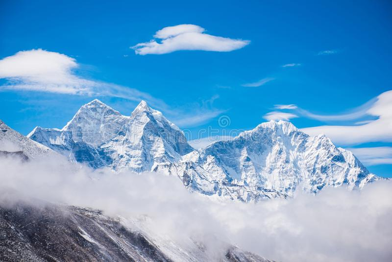 Beautiful snow mountain views on route to Everest Base Camp royalty free stock photos