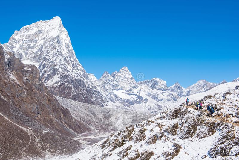 Beautiful snow mountain views on route to Everest Base Camp stock images