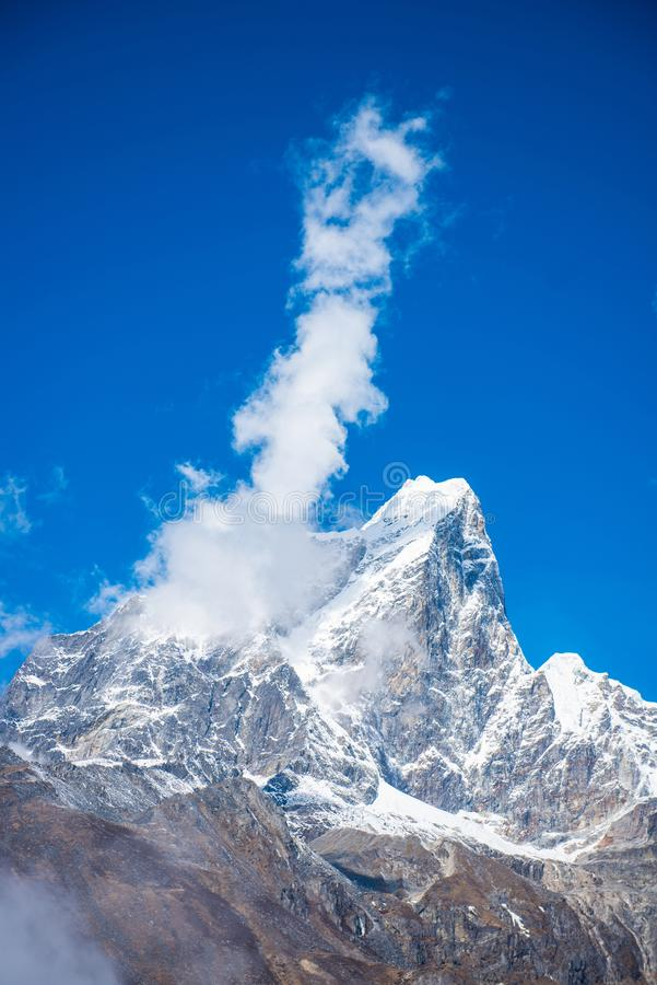 Beautiful snow mountain views on route to Everest Base Camp stock image