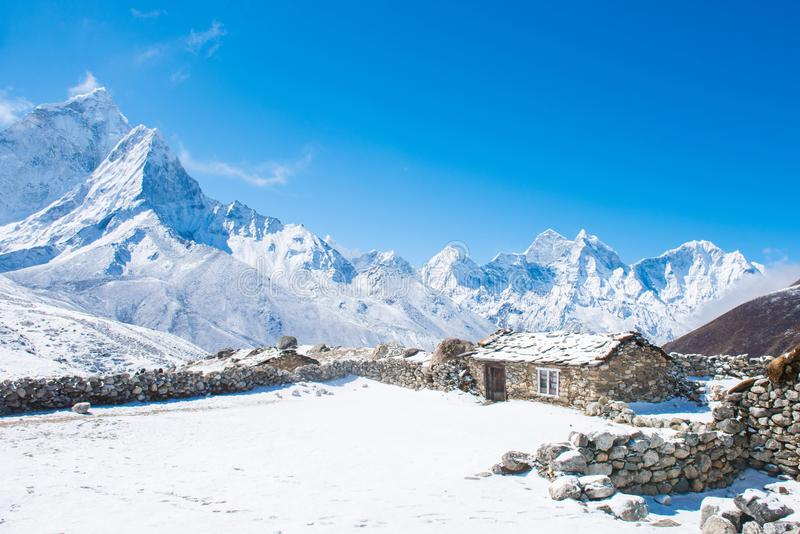 Beautiful snow mountain views on route to Everest Base Camp royalty free stock photography