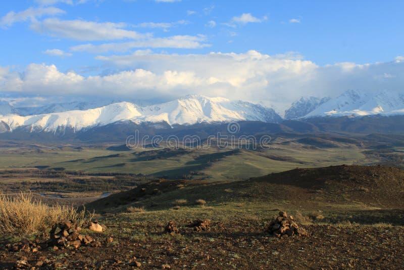Beautiful snow the North Chuya ridge royalty free stock photo