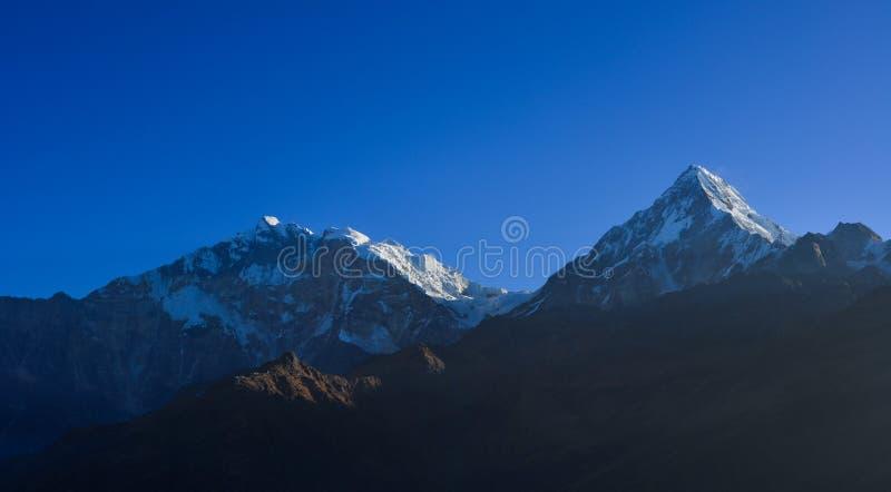 Beautiful snow peaks of Annapurna Range stock image