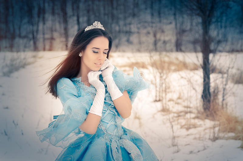 Beautiful Snow Queen in Winter Decor royalty free stock images