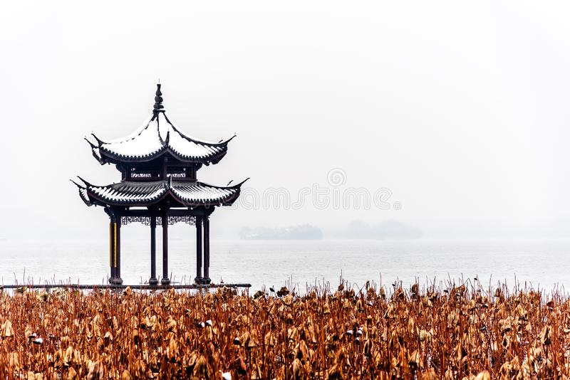 The beautiful Snow winter landscape scenery of Xihu West Lake and pavilion with garden in Hangzhou China stock images