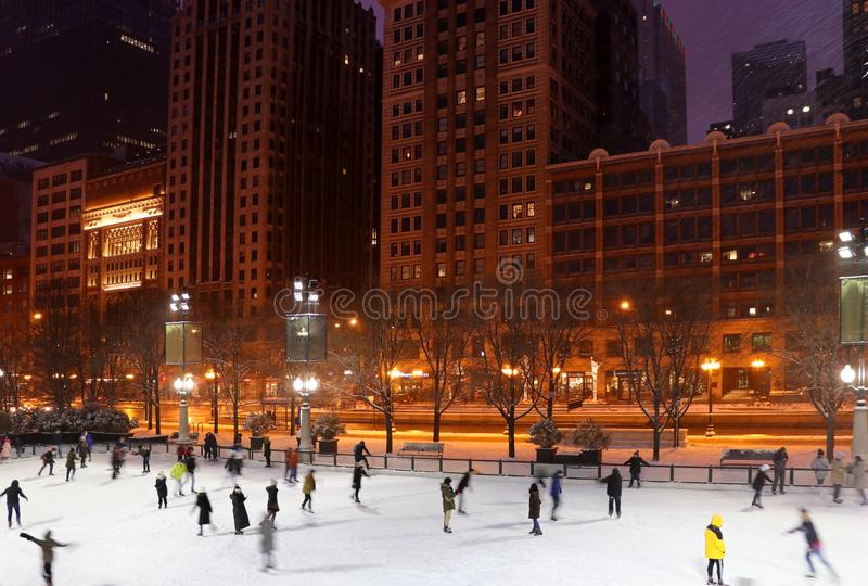 Beautiful snowy Christmas eve in Chicago. royalty free stock photography