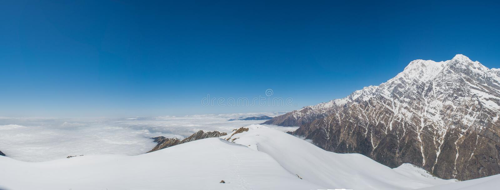 Beautiful snowy landscape panorama view of Himalaya mountains covered with snow at Mardi Himal trekking area. In Nepal royalty free stock photos