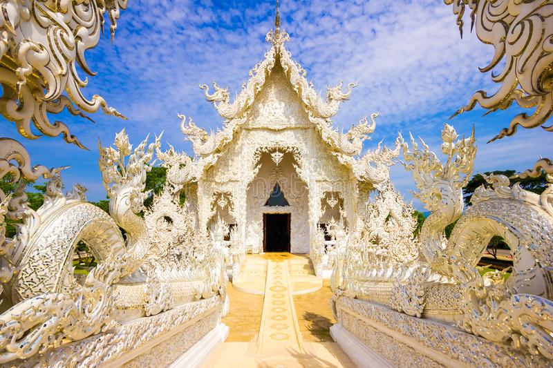 Beautiful snowy white temple Wat Rong Khun temple in Chiang Rai, Thailand, Asia royalty free stock images