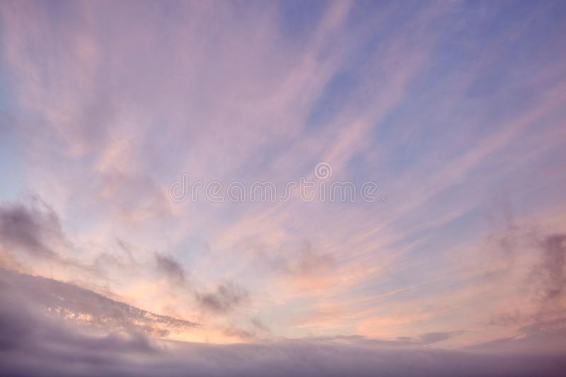 Beautiful soft clouds and blue sky background. During sunset, reunion island stock image
