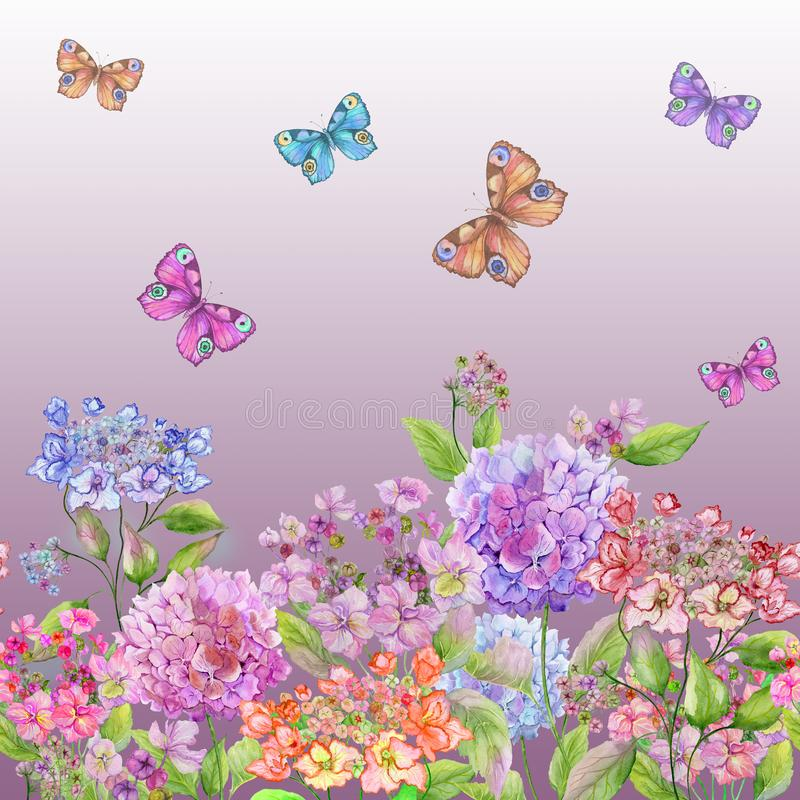 Beautiful soft hydrangea flowers and colorful butterflies on gradient pink background. Square template. Seamless floral pattern. vector illustration
