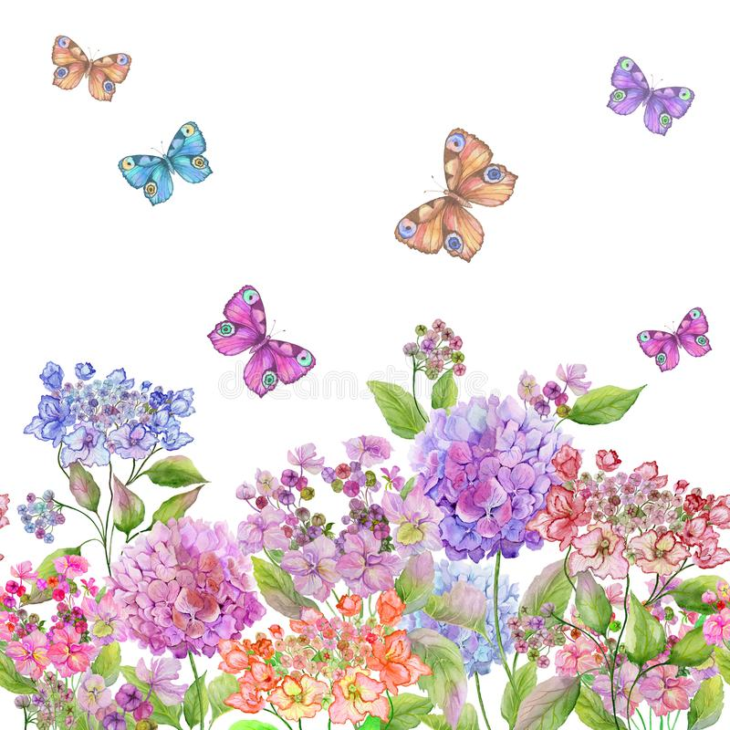 Beautiful soft hydrangea flowers and colorful butterflies on white background. Square template. Seamless floral pattern. Watercolor painting. Hand painted vector illustration