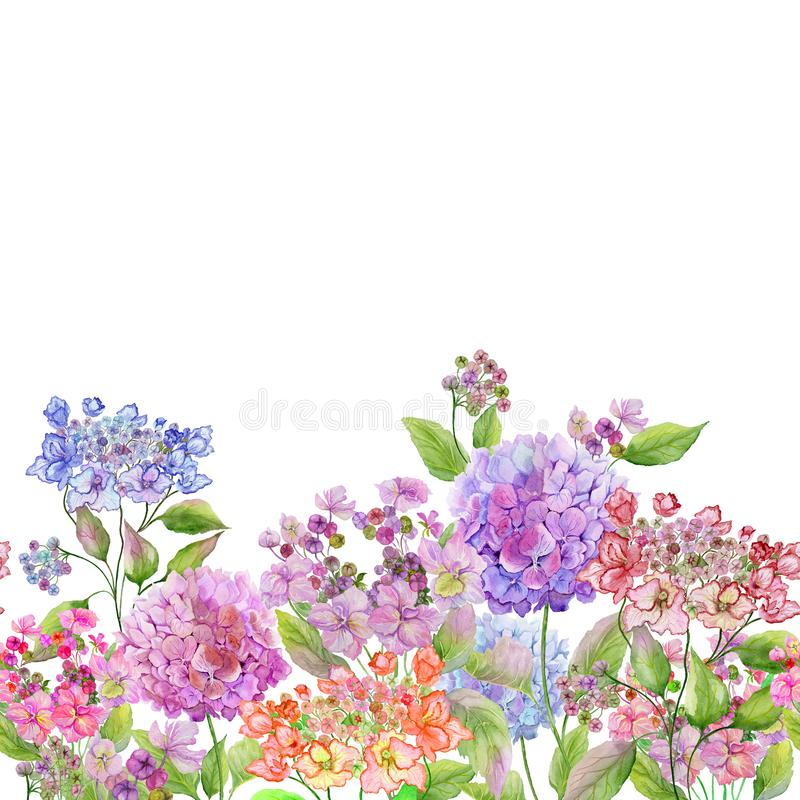 Beautiful soft hydrangea flowers on white background. Square template. Seamless floral pattern. Watercolor painting. Hand painted summer illustration stock illustration