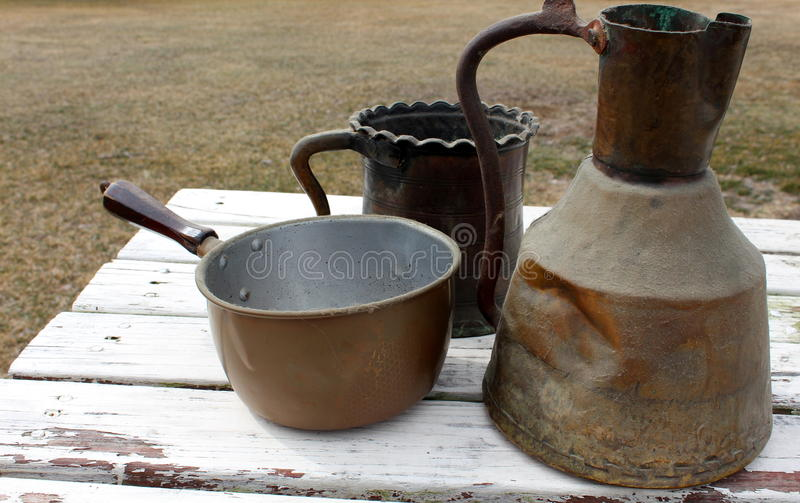 Download Soft Patina On Old Copper Pots Stock Image - Image of copper, object: 30291013