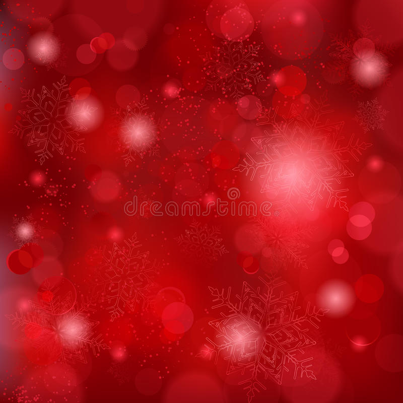 Beautiful soft red snowflake background. Snowflakes and blurry lights on dark red background. Great backdrop for winter or Christmas themes. Space for your text