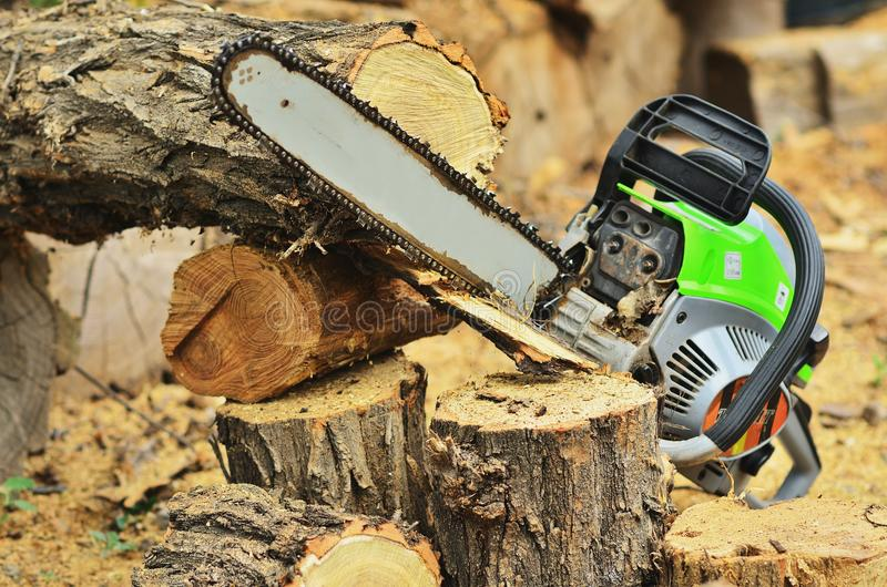 The durable chainsaw lies on the stump. A beautiful solid chainsaw lies on a stump next to logs royalty free stock photo