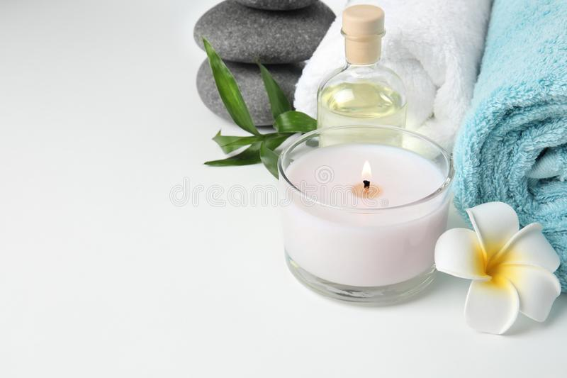 Beautiful spa composition with candle. On white background stock images