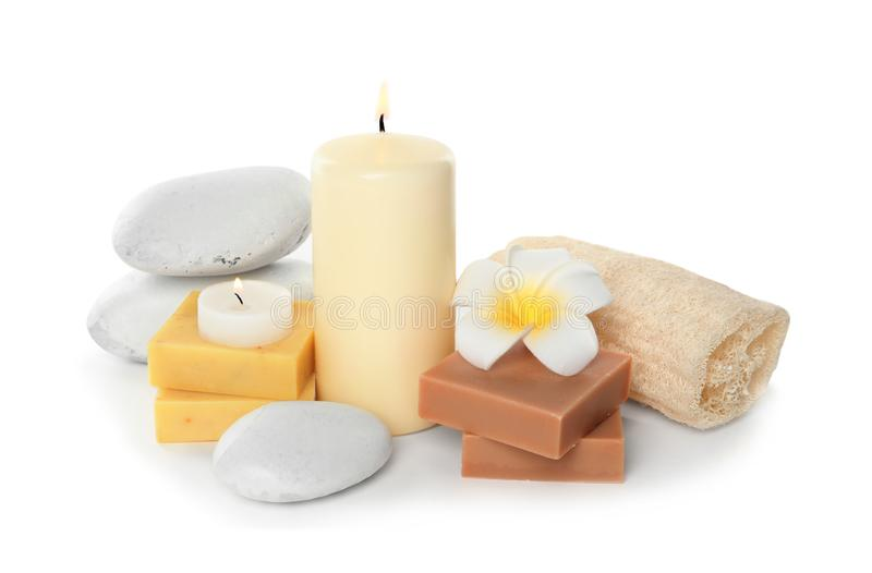 Beautiful spa composition with candles and soap. On white background stock photography