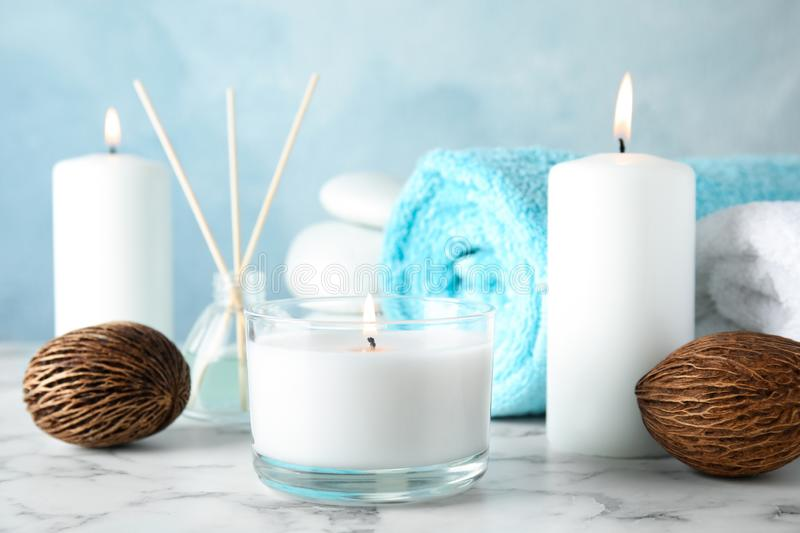 Beautiful spa composition with candles. On table stock image