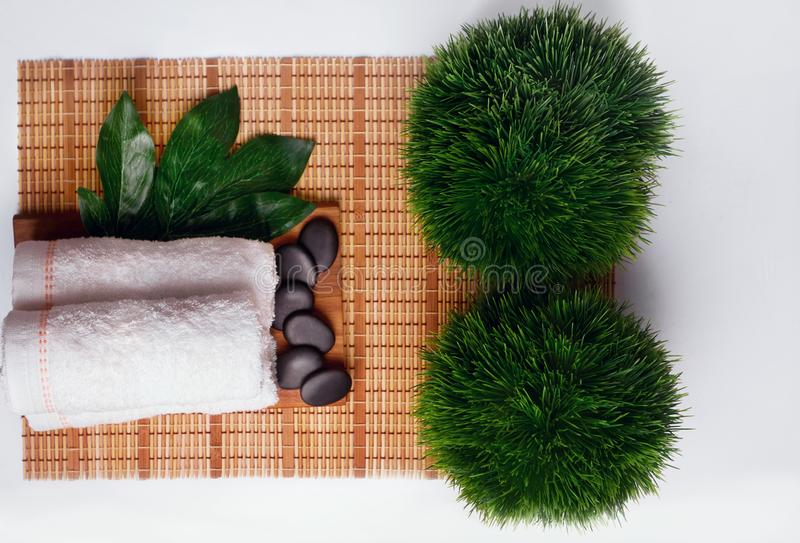 Beautiful spa composition on massage table in wellness center royalty free stock photography