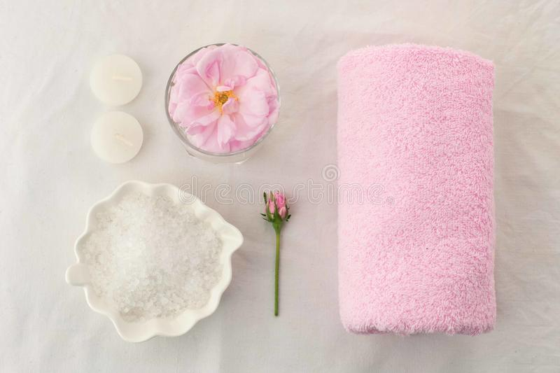 Beautiful spa composition on white tissue background. Concept of relax, wellness and mindfulness stock image