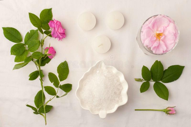 Beautiful spa composition on white tissue background. Concept of relax, wellness and mindfulness stock photo