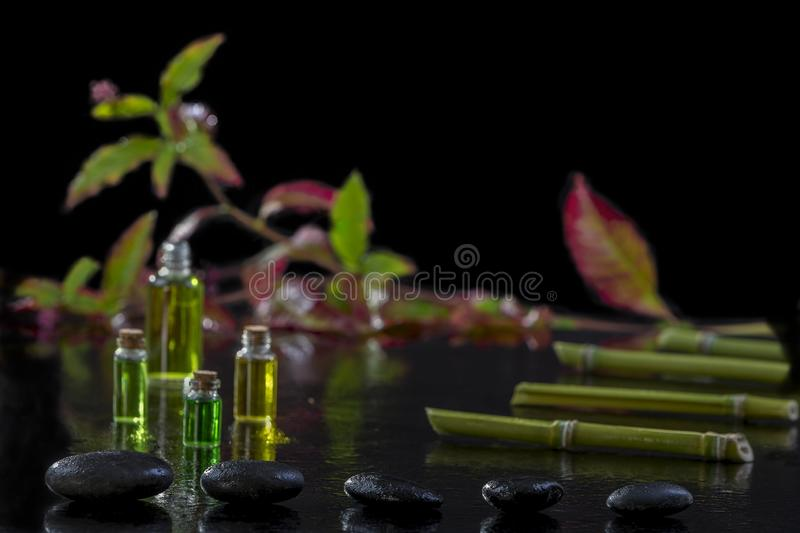 Beautiful spa composition with zen basalt stones and bamboo essential oil plants and flowers on black background stock image