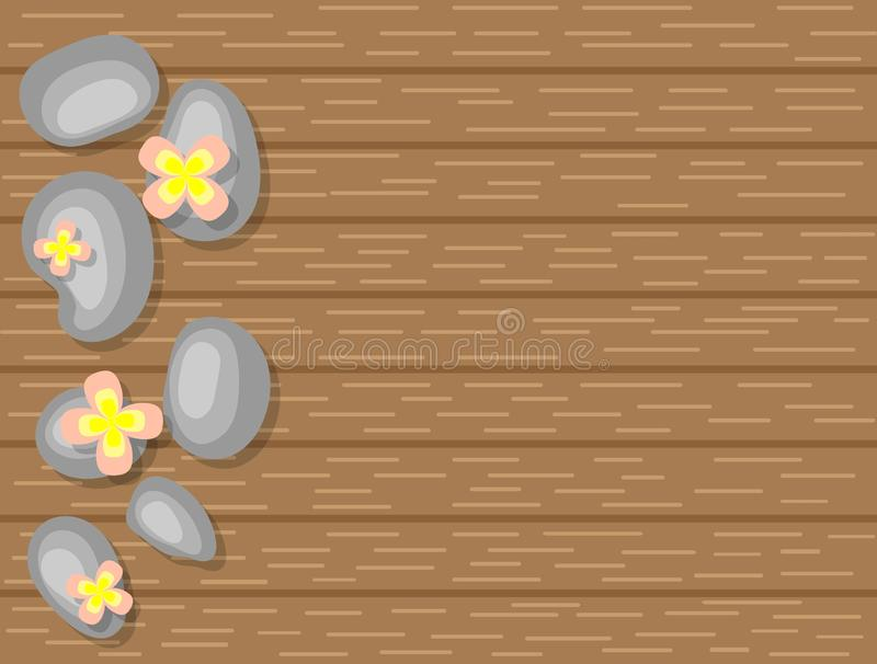 Spa Pebbles and White Flowers on Wooden Background Top View. Beautiful Spa and wellness theme royalty free illustration