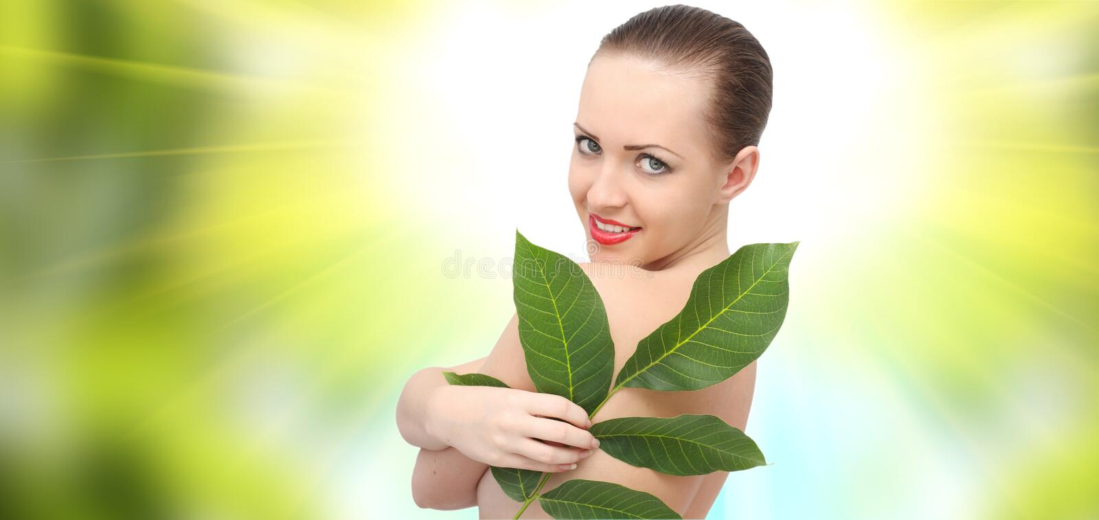 Beautiful spa woman. With green leaf stock photos