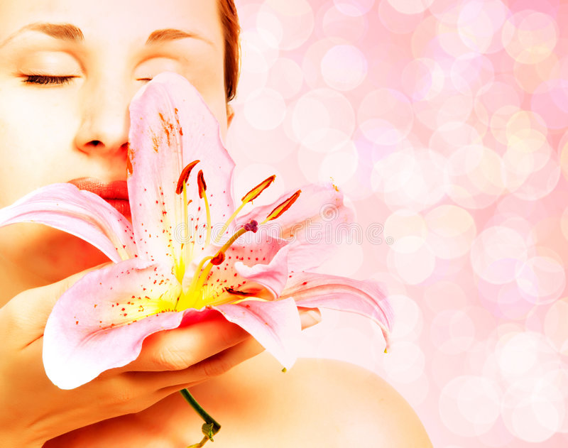 Beautiful spa woman. With lilly royalty free stock photos
