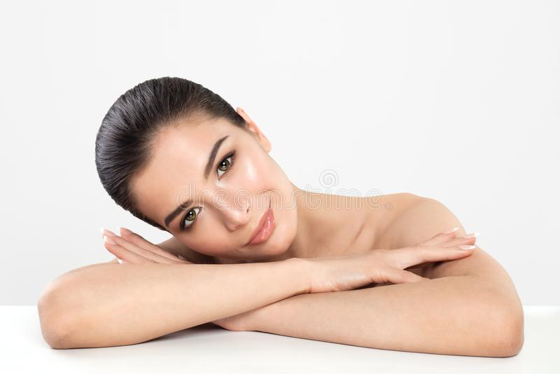 Beautiful Spa Woman with Healthy Skin on White Background. Spa Beauty royalty free stock photography