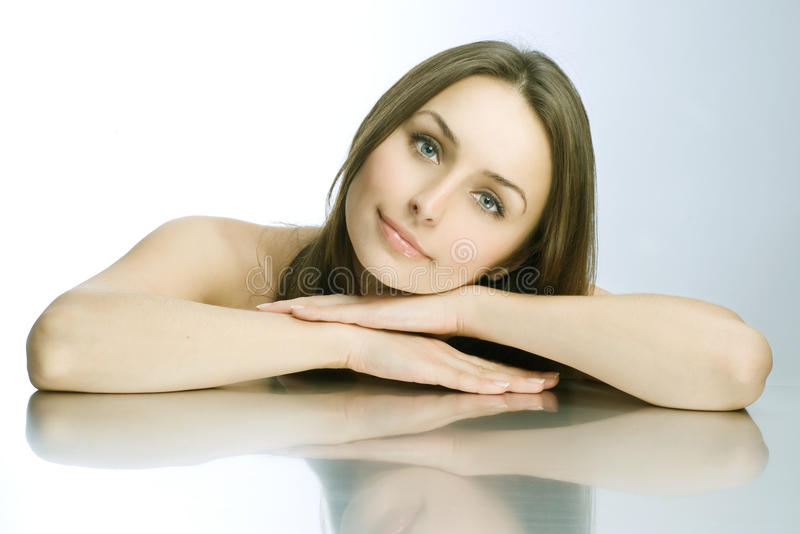 Beautiful Spa Woman portrait. Clear fresh skin stock image