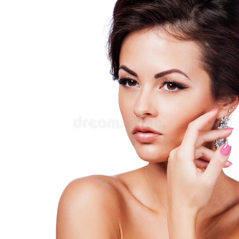 Beautiful Spa Woman Touching her Face. Isolated royalty free stock photos