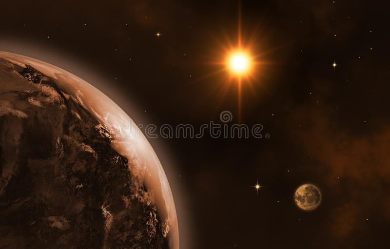 Beautiful space. Space landscape. Sunrise. 3d-image royalty free illustration