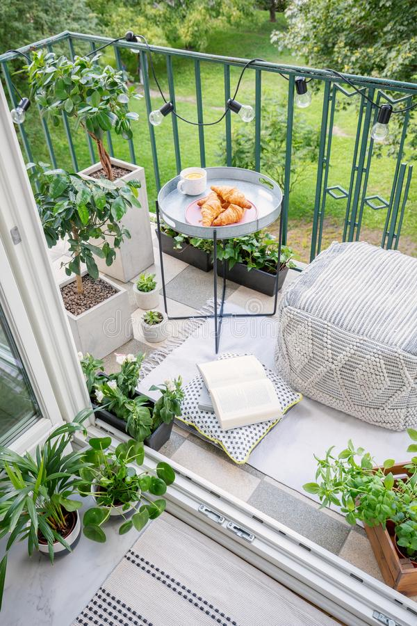 Space for meal and relaxation on a green balcony with a comfy ottoman, string lights and a tray with sweet pastries and stock photo