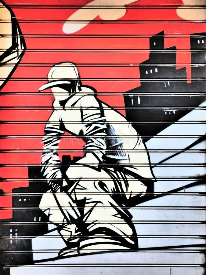 Garage Door Gangsta - Street Art of Valencia stock photos