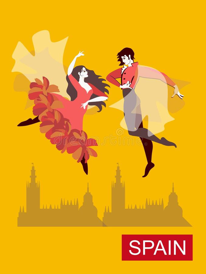 Beautiful Spanish couple dancing flamenco in the yellow sky over the city. Fantasy vector illustration. Art Deco style.  stock illustration