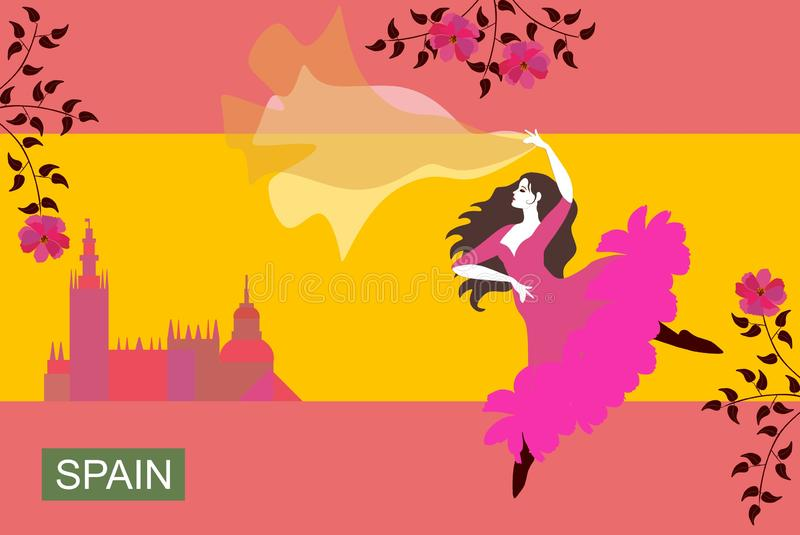 Beautiful Spanish girl dressed in long pink dress and with flowing shawl, dancing flamenco in the streets of the city. Stylized image of the Spanish flag stock illustration