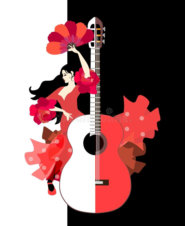 Beautiful Spanish girl dressed in long red dress with ruffles in form of roses and with fan in her hands dancing flamenco. Next to large stylized guitar on vector illustration