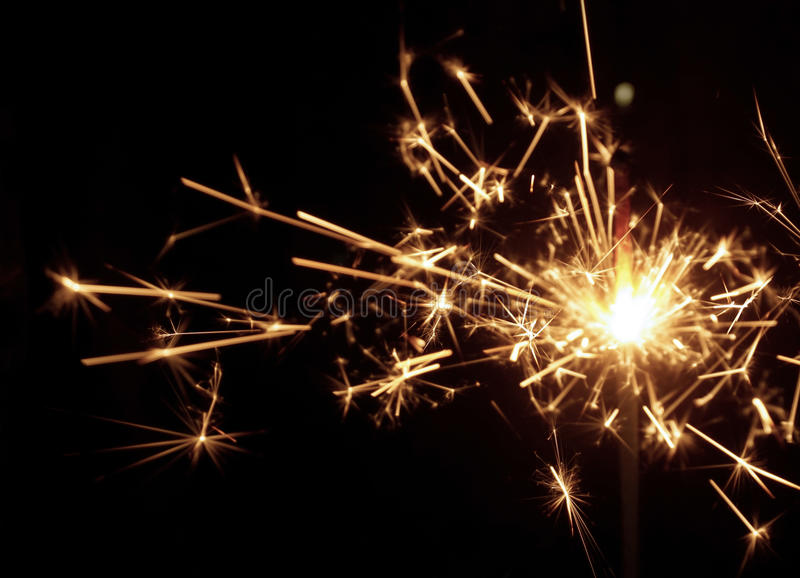 Beautiful sparkler on black background. stock photo