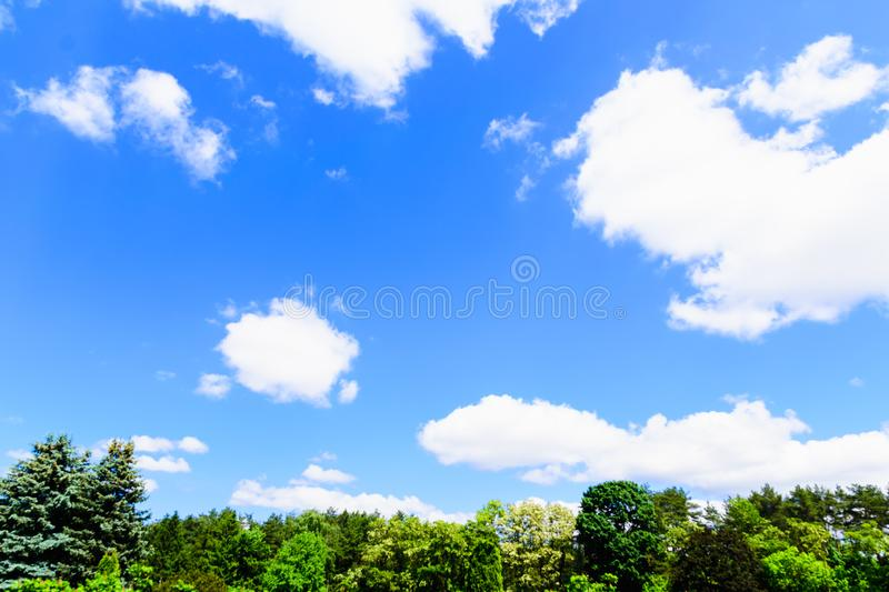 white fluffy clouds on a background of blue sky stock photo