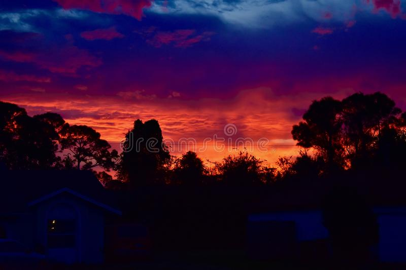 A beautiful and spectacular sunrise sky stock photography